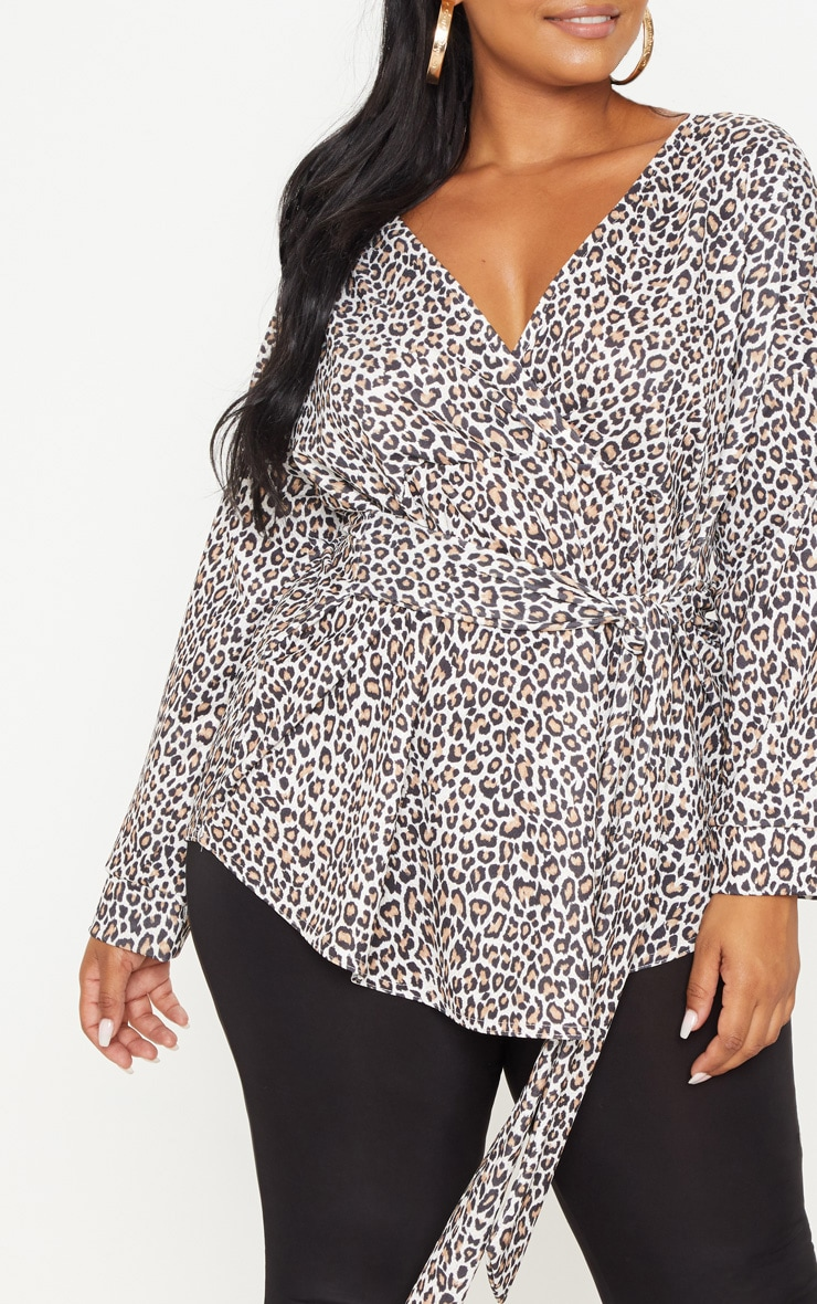 Plus Tan Leopard Print Tie Waist Blouse 5
