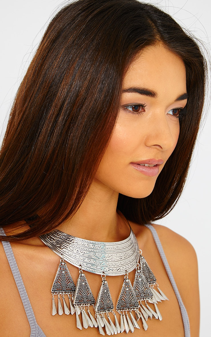 Selena Silver Tribal Collar Necklace 2