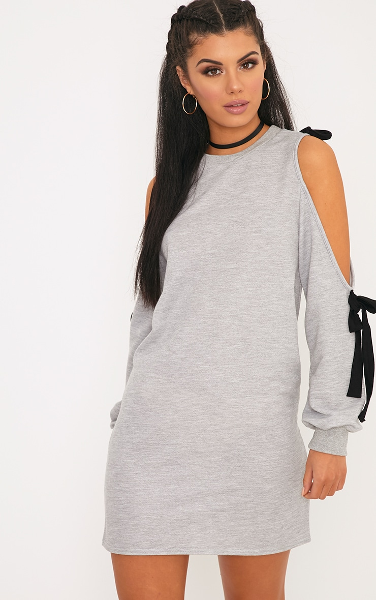 Naaveah Loop Back Tie Sleeve Jumper Dress Grey 1