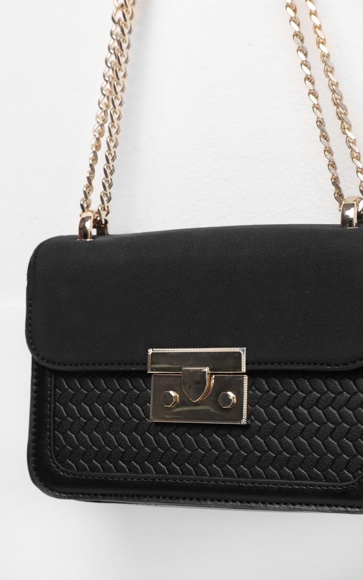 Black Pu Gold Lock Trim Cross Body Bag 3