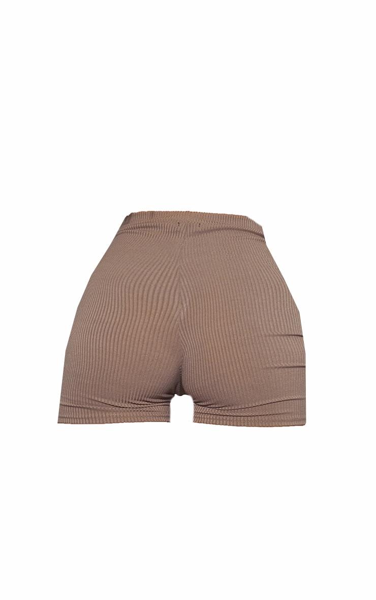 RENEW Khaki Heavy Rib Seam Detail Hotpants 6