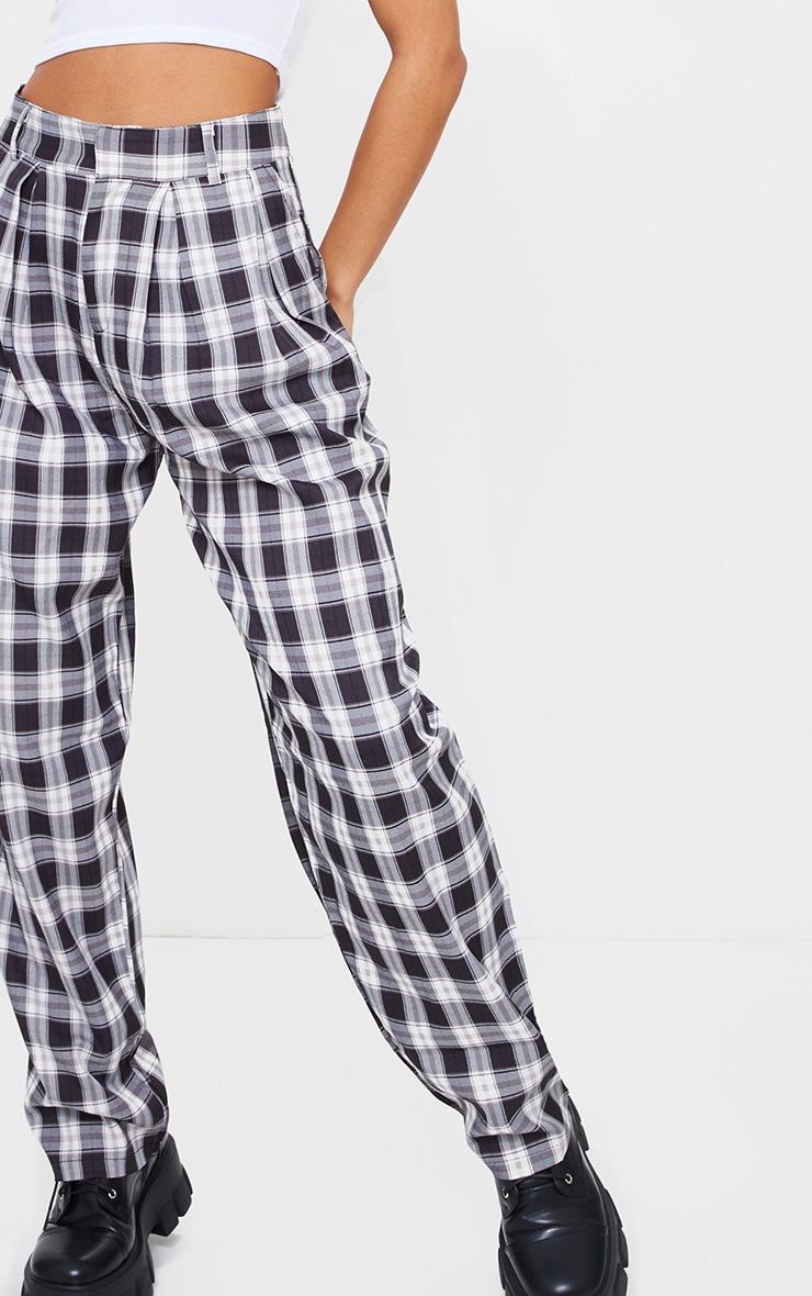 Black Check Woven High Waisted Cigarette Pants 4