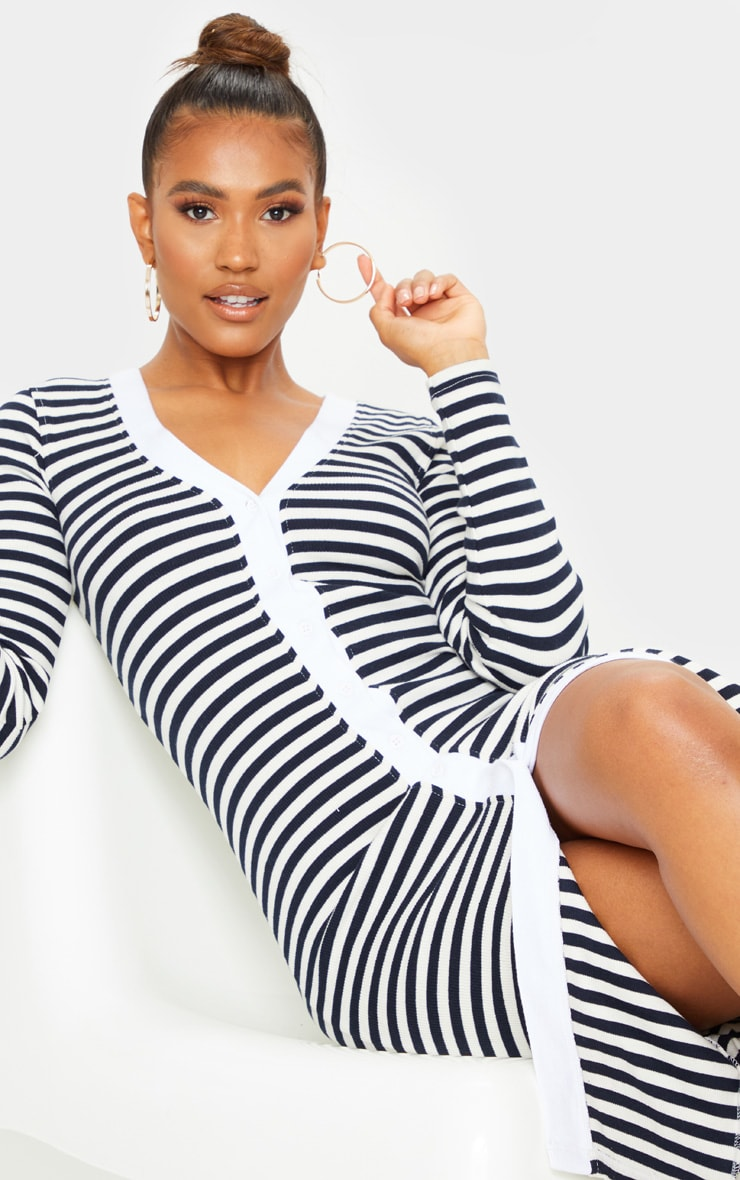 Cream Thick Rib Striped Button Through Long Sleeve Midi Dress 4