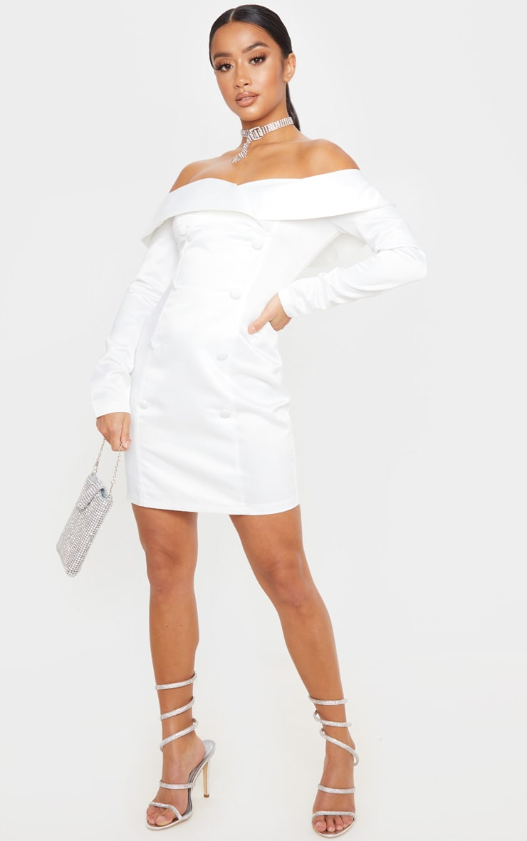 Petite White Satin Bardot Blazer Dress 1