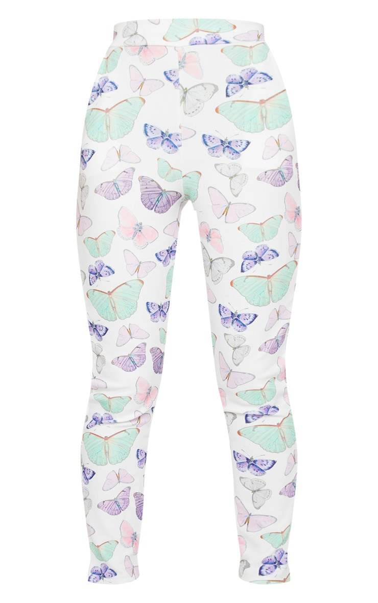 White Butterfly Print Skinny Pants 5