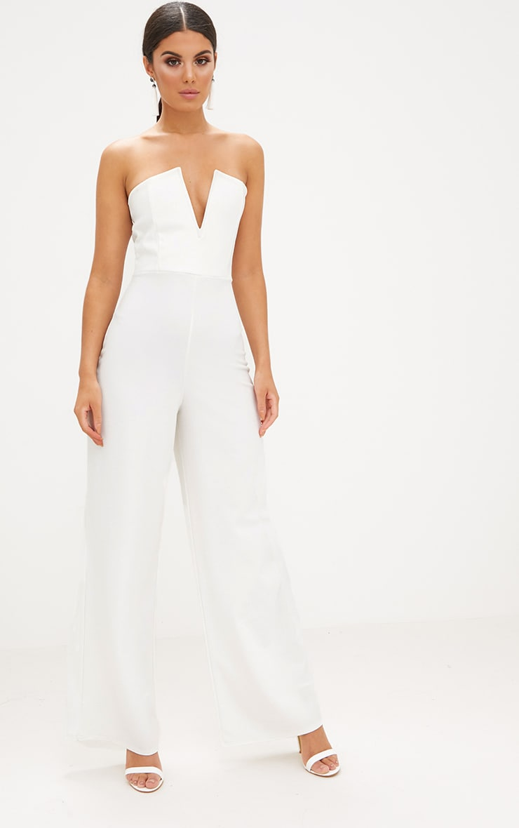 White Crepe V Neck Bandeau Wide Leg Jumpsuit 1