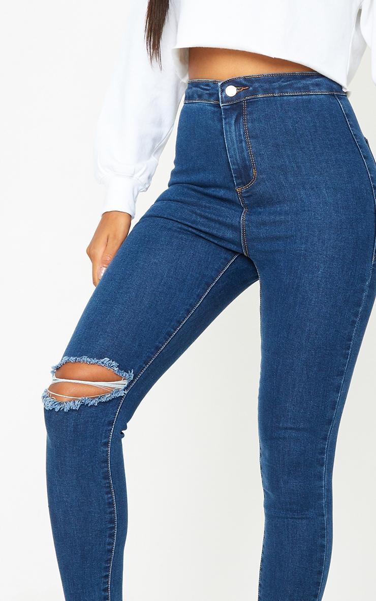 PRETTYLITTLETHING Mid Blue Wash Raw Hem Knee Rip Disco Skinny Jeans 4