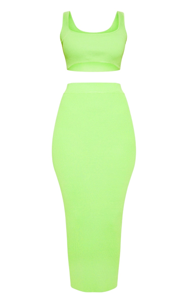 Lime Knitted Ribbed Co Ord 3
