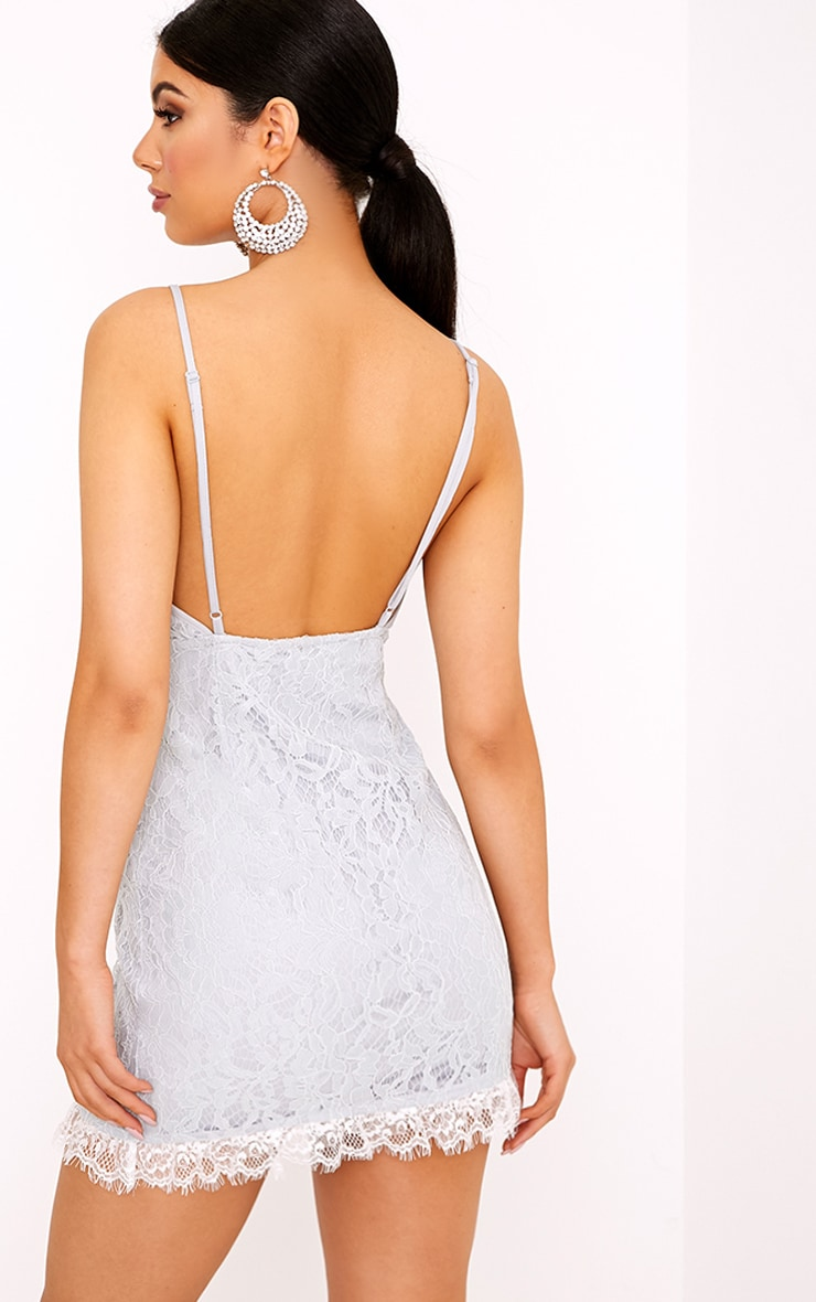 Giggi Ice Grey Strappy Lace Shift Dress 2
