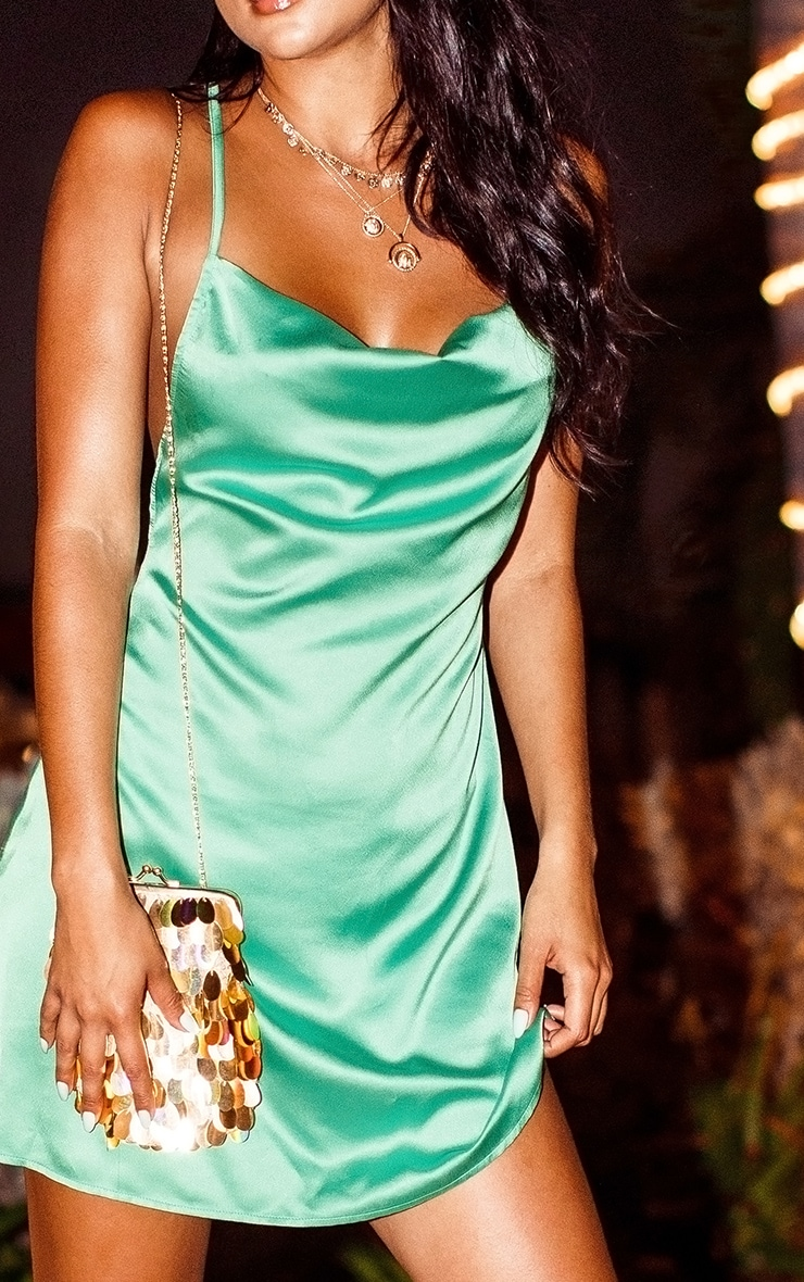 Green Satin Cowl Neck Shift Dress 5