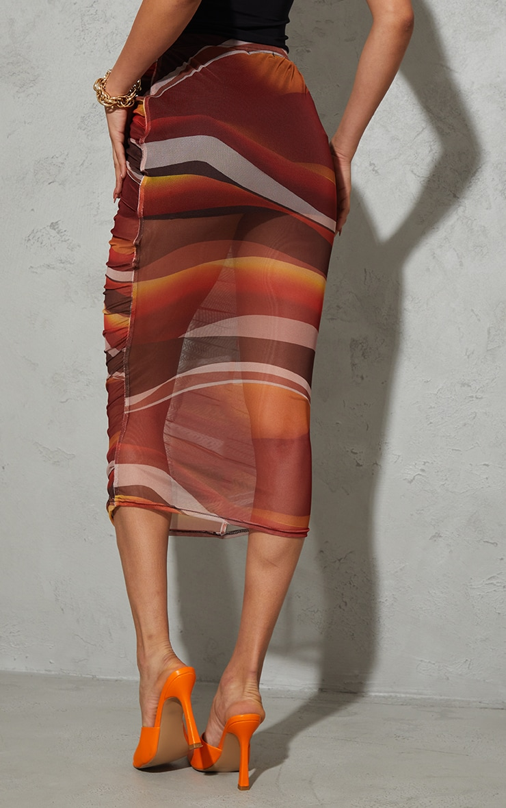 Orange Ombre Stripe Print Mesh Ruched Overlay Maxi Skirt 3