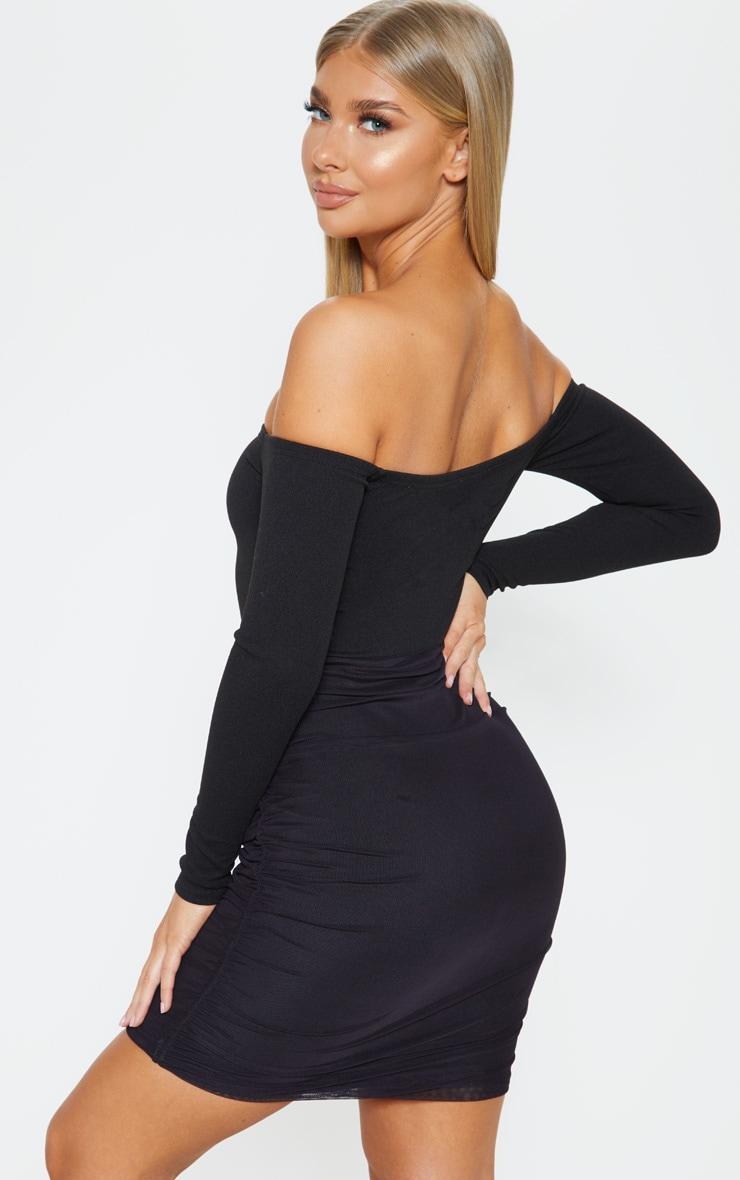Black Bardot Long Sleeve Ruched Bodycon Dress 2