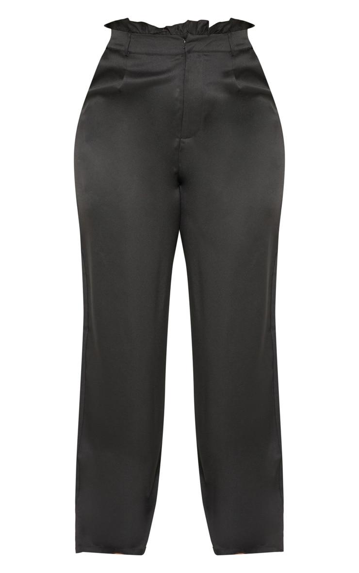 Plus Black Paperbag Wide Leg Pants 3