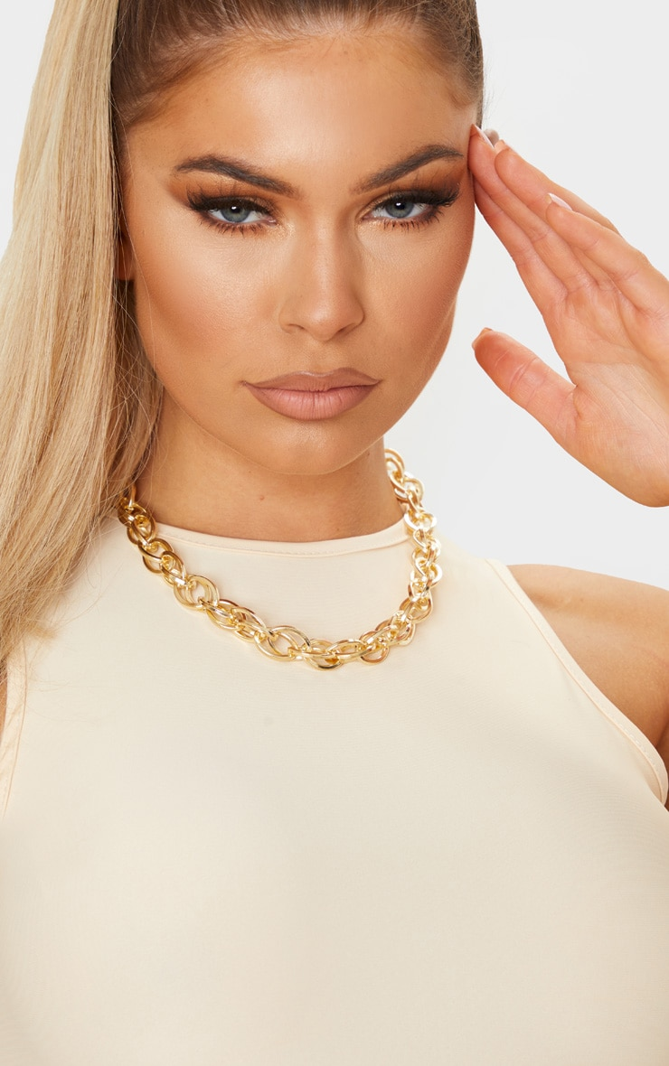 Gold Chunky Single Chain Necklace 1