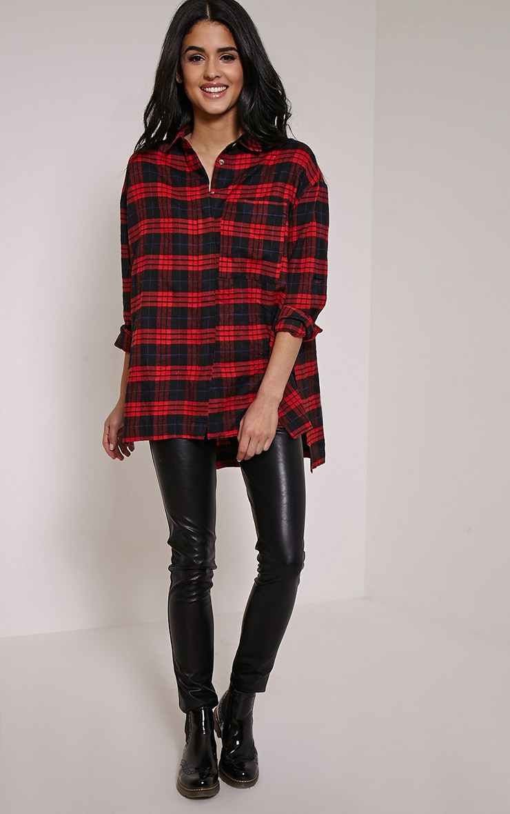 Alier Red Check Oversized Boyfriend Shirt 3