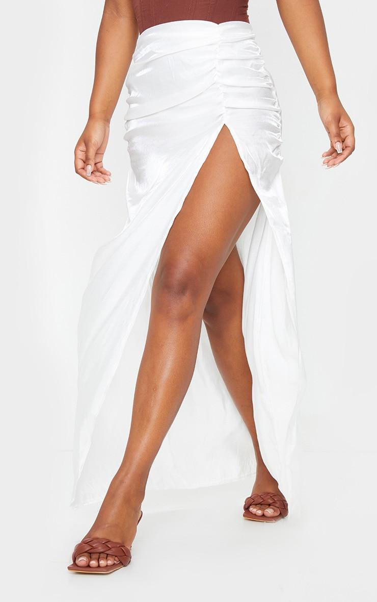 White Sheer Ruched Side Split Leg Maxi Skirt 2