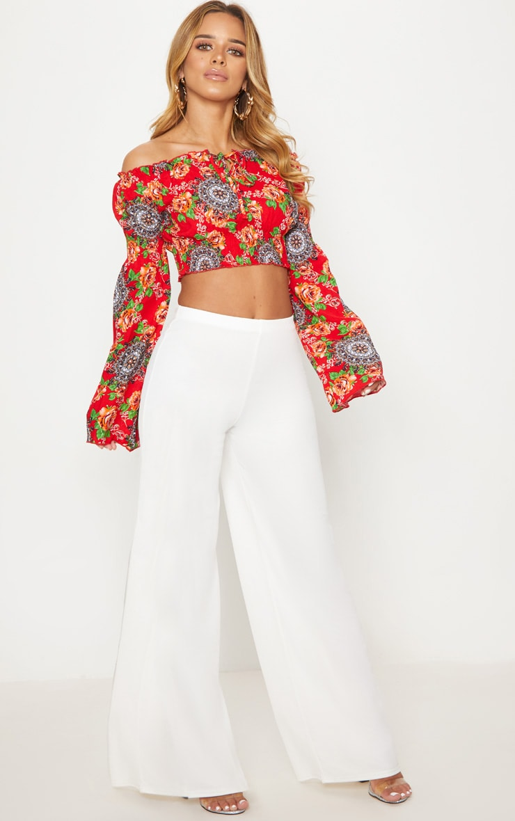 Petite Red Floral Flared Sleeve Bardot Crop Top 4