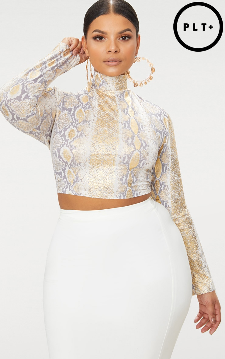 Plus Taupe Slinky Snake Print High Neck Long Sleeve Crop Top 1