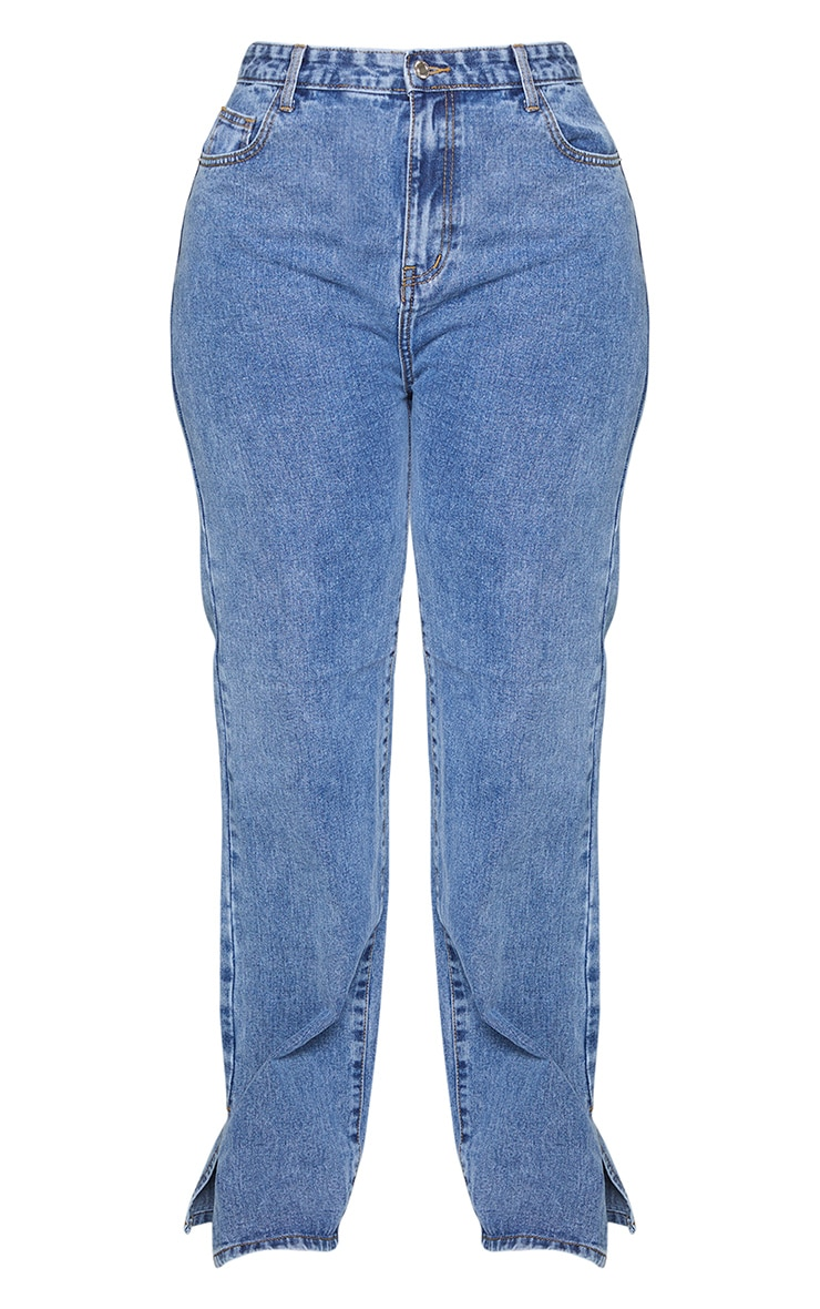 Plus Vintage Wash Split Hem Jeans 5