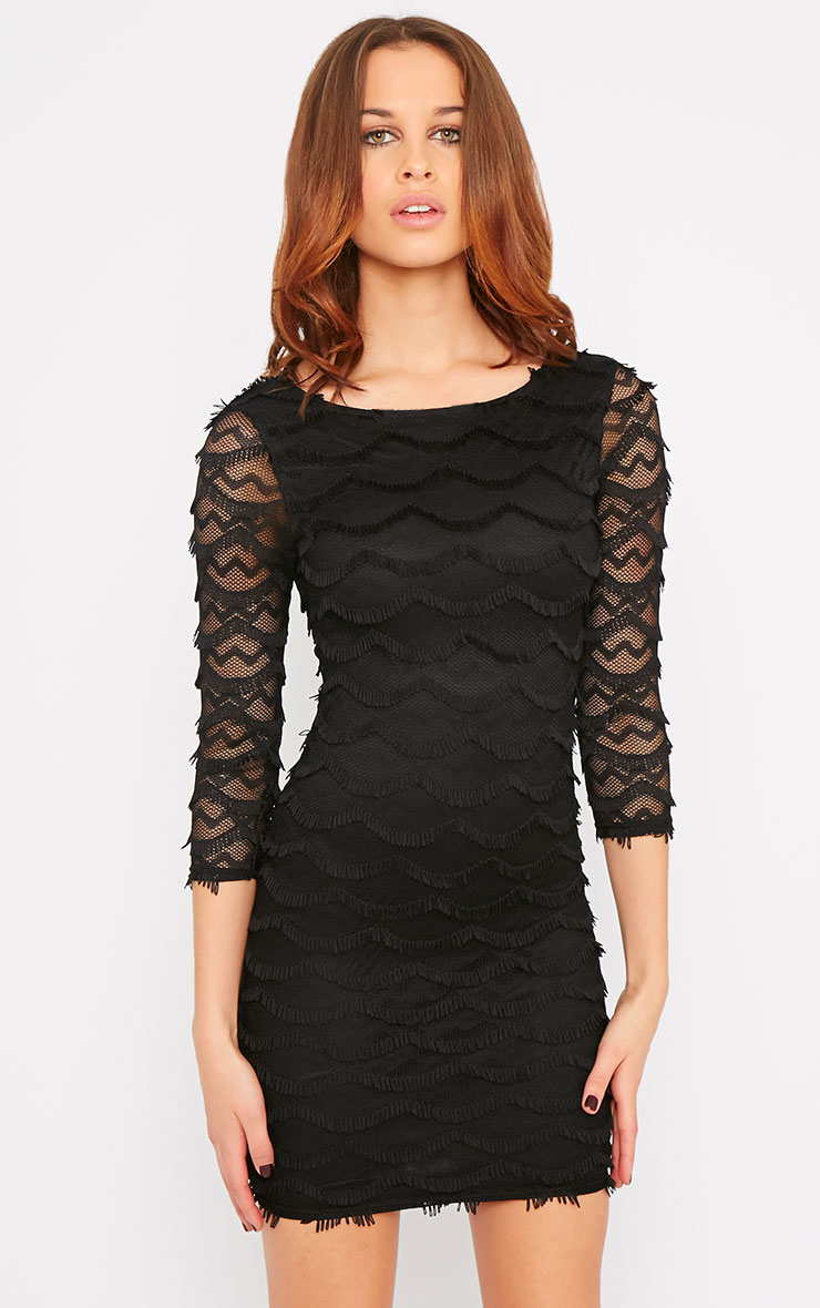 Valentina Black Eyelash Sleeve Dress 1