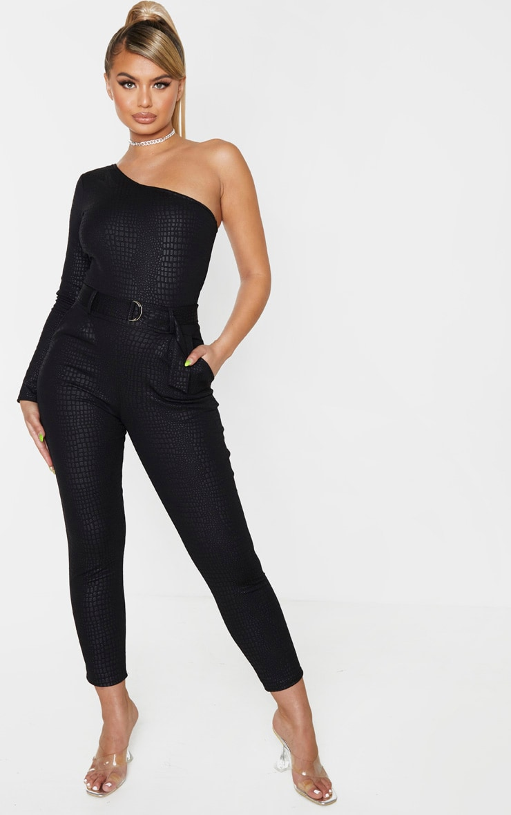 Black Textured Croc D Ring One Shoulder Jumpsuit 1