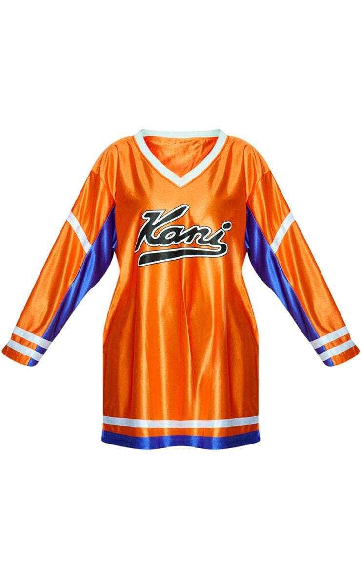 KARL KANI Orange Baseball Dress 4