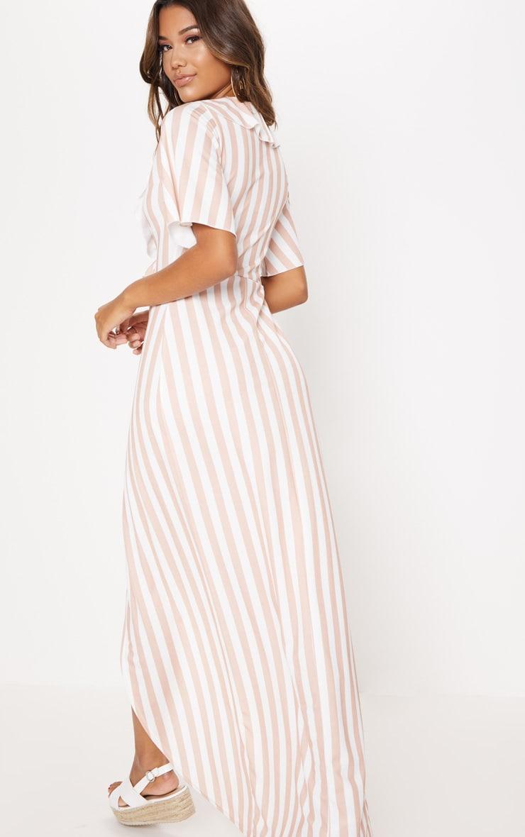 Stone Stripe Print Frill Detail Wrap Maxi Dress 2