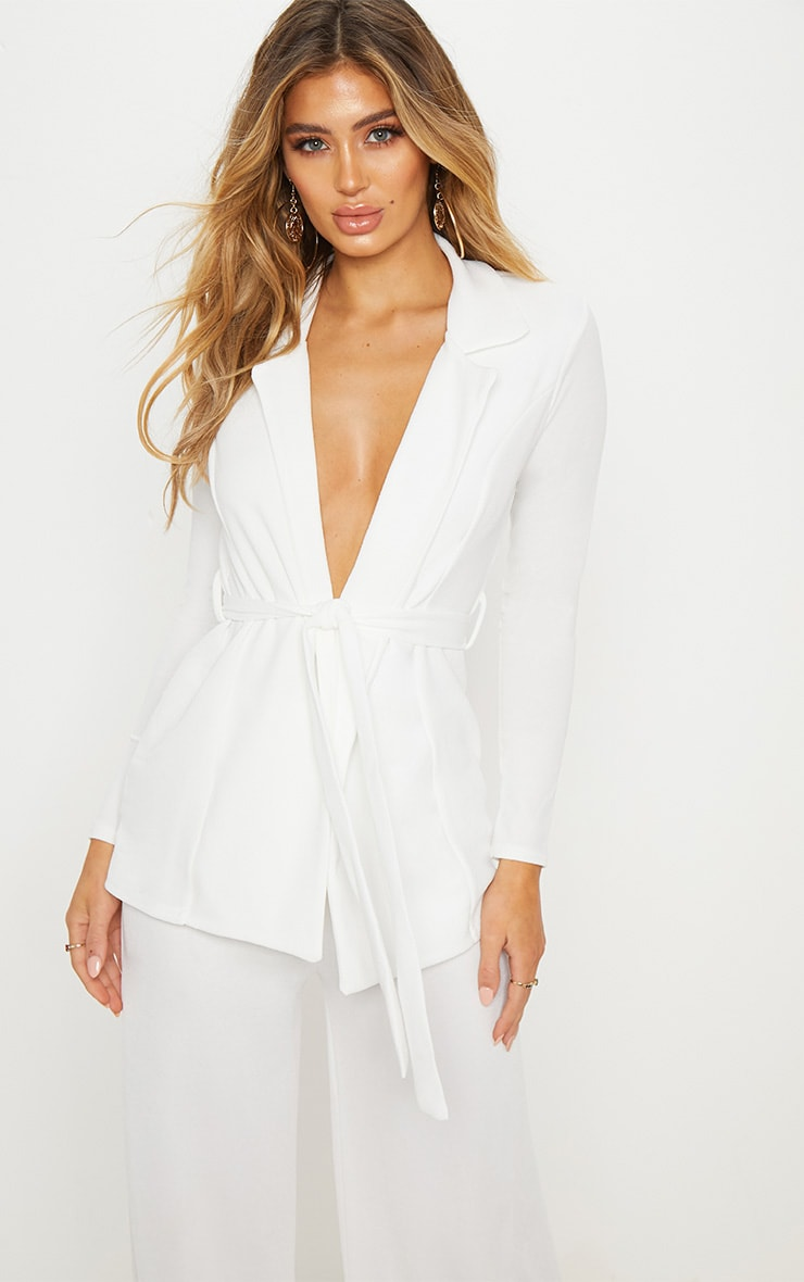 White Belted Blazer