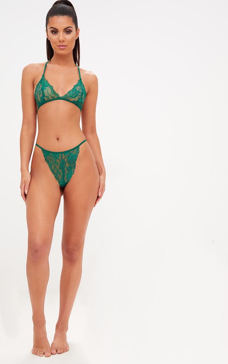 Emerald Halterneck Lace Tie Back Bra Lingerie Set 4