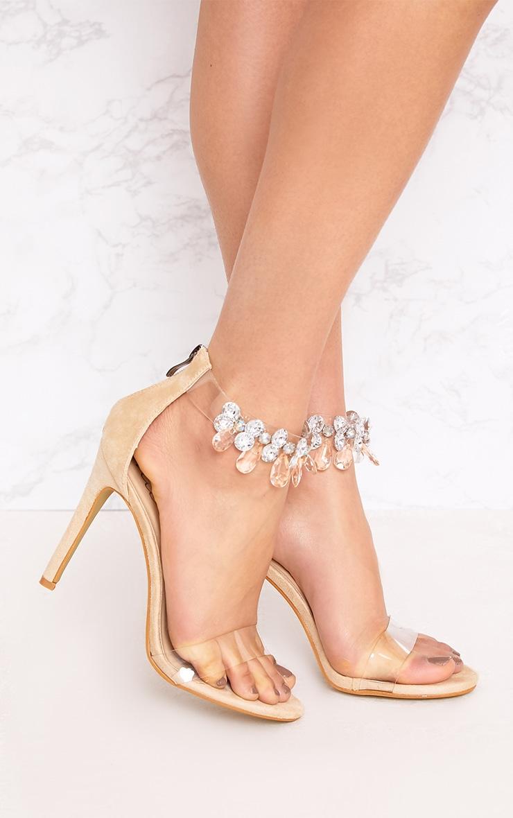 Cream Jewelled Strap Heels 1