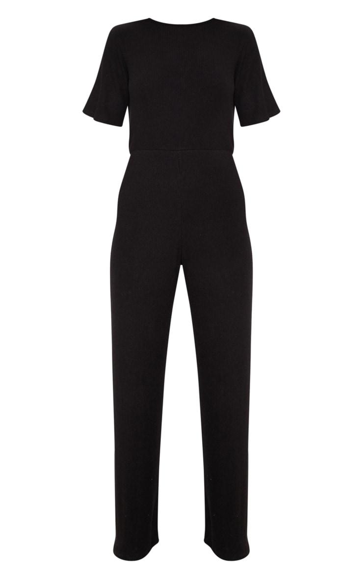 Black Soft Rib Short Sleeve Jumpsuit 3