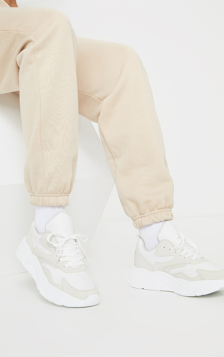 White Chunky Detail Sole Mesh Lace Up Trainers 1