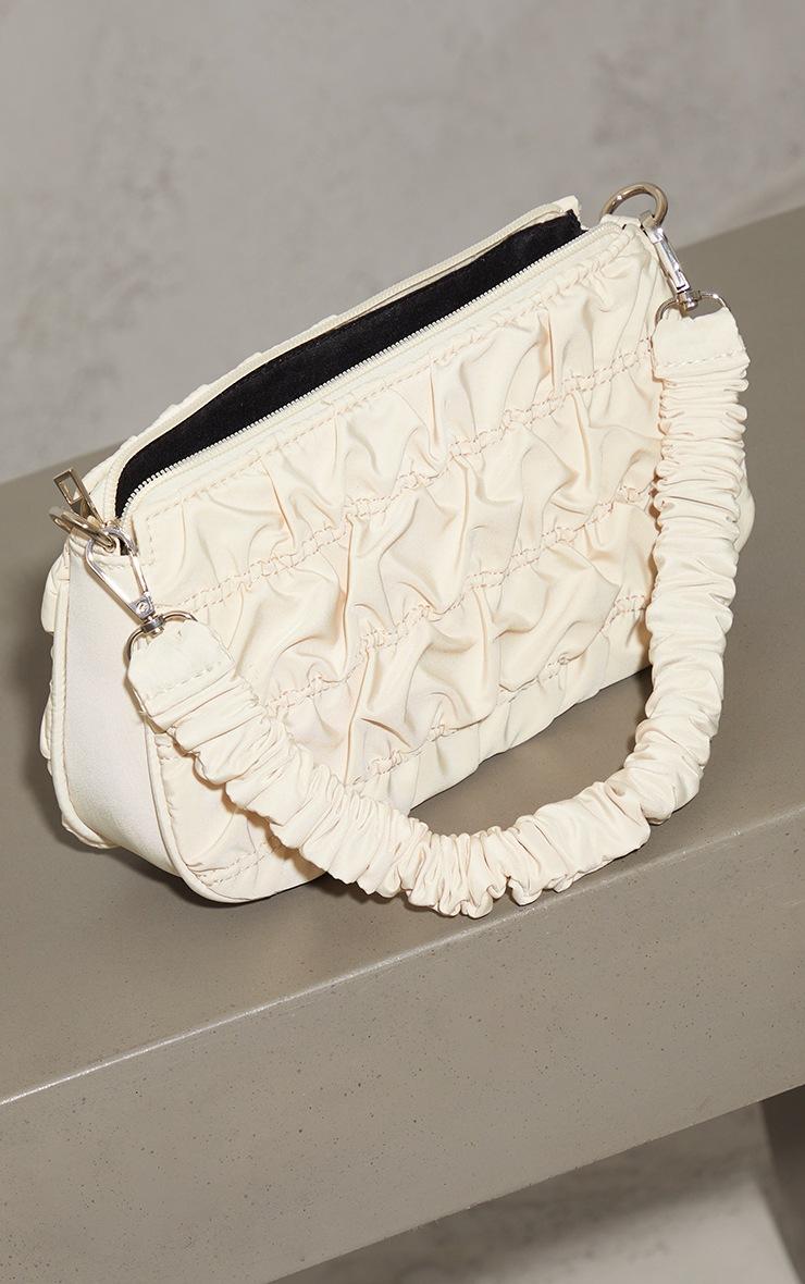 Cream Nylon Ruched Shoulder Bag 3