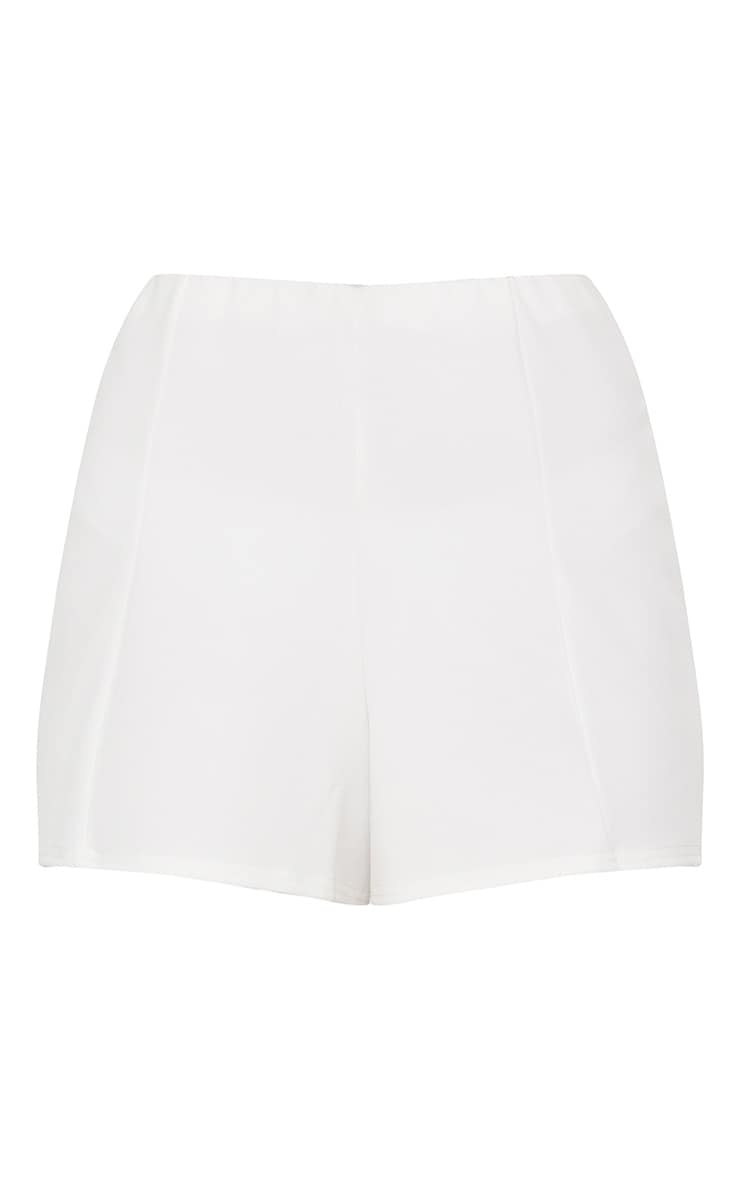 Cream Seam Detail High Waisted Short 3