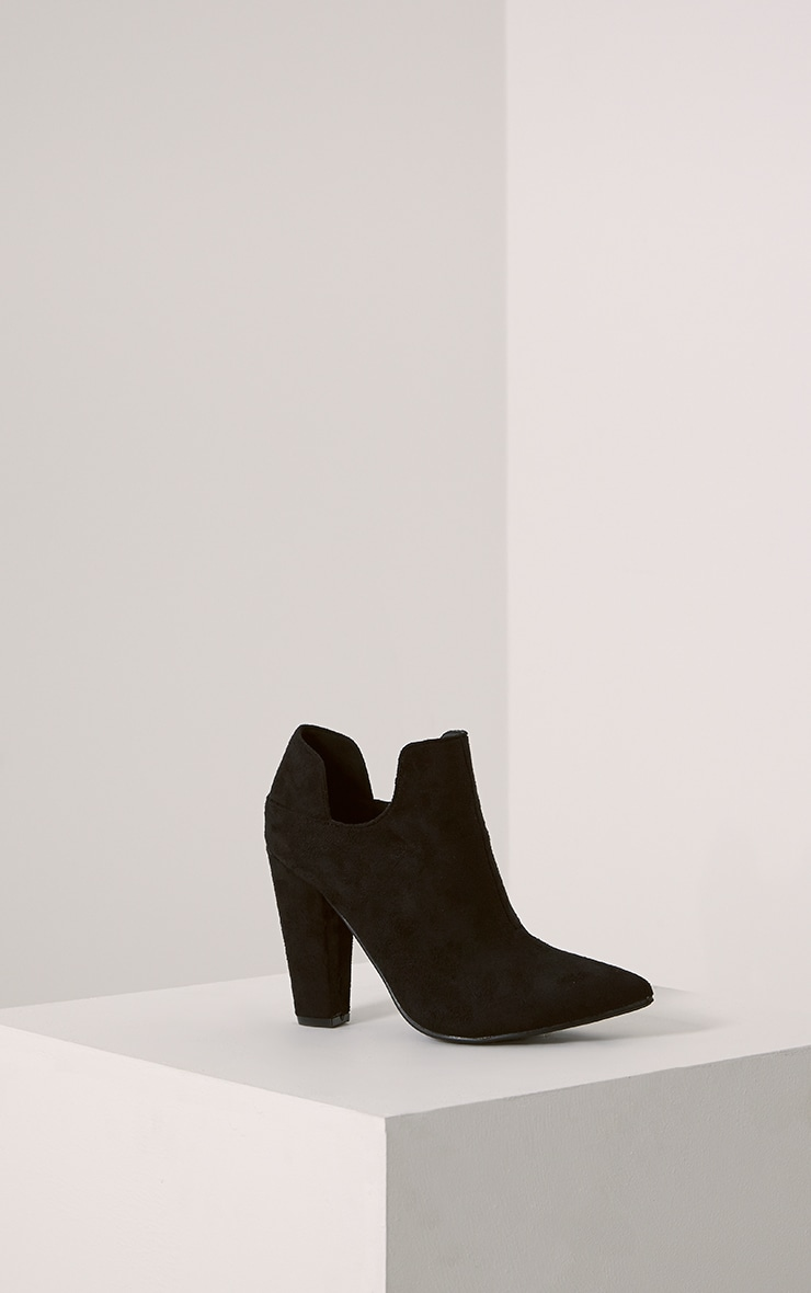 Destry Black Faux Suede Heeled Ankle Boots 3