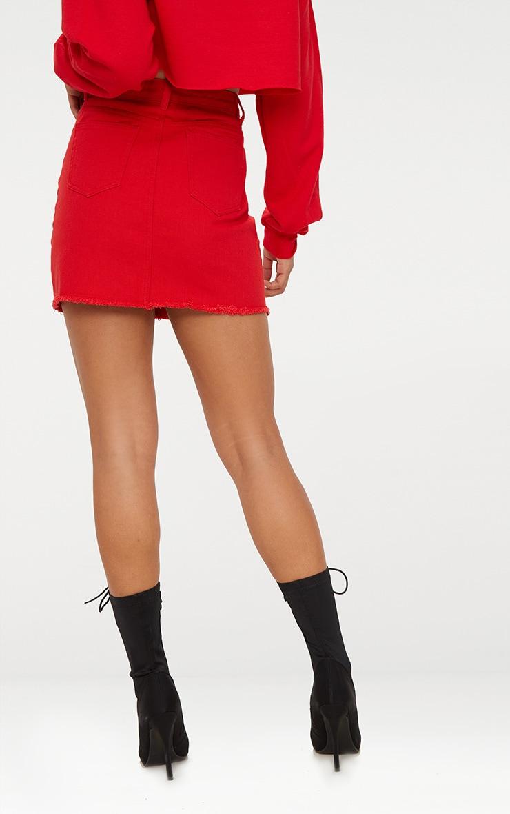 Red Sports Stripe Denim Mini Skirt Prettylittlething Ie