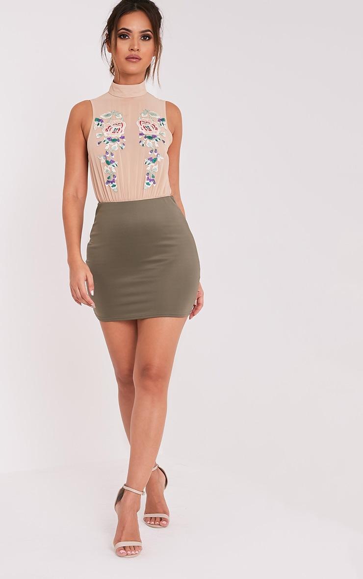 Zahra Stone Embroidered Chiffon Thong Bodysuit 6