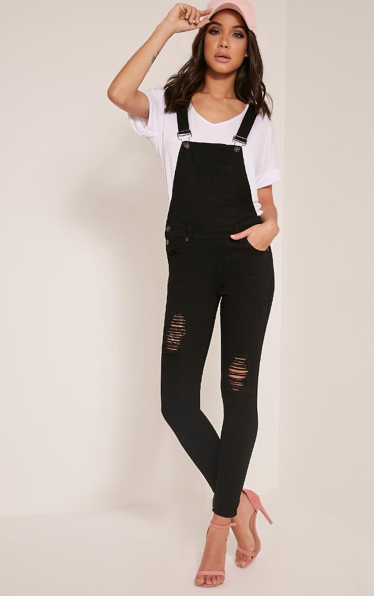 9defa751956 Ann Black Denim Dungarees - Jeans - PrettylittleThing ...