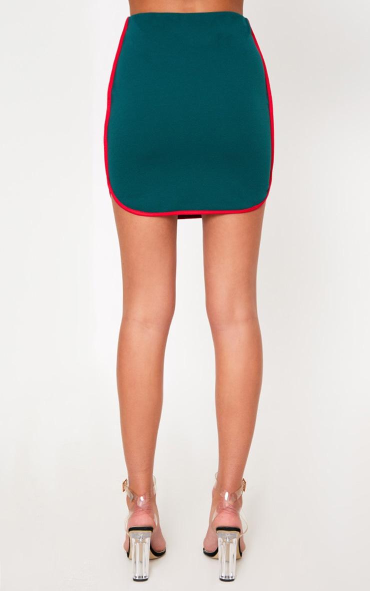 Forest Green Contrast Binding Runner Mini Skirt 4