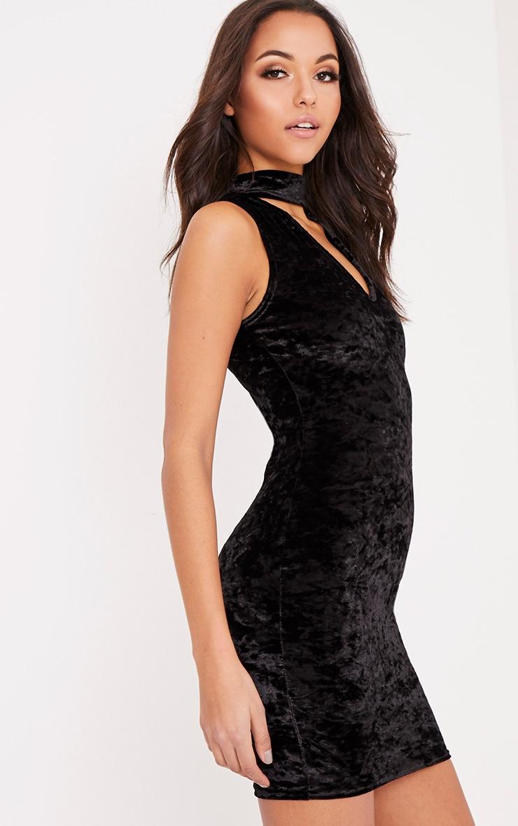 Abi Black Velvet Choker Neck Bodycon Dress 4