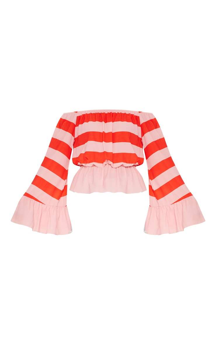 Pink Stripe Flare Bardot Sleeve Top 3