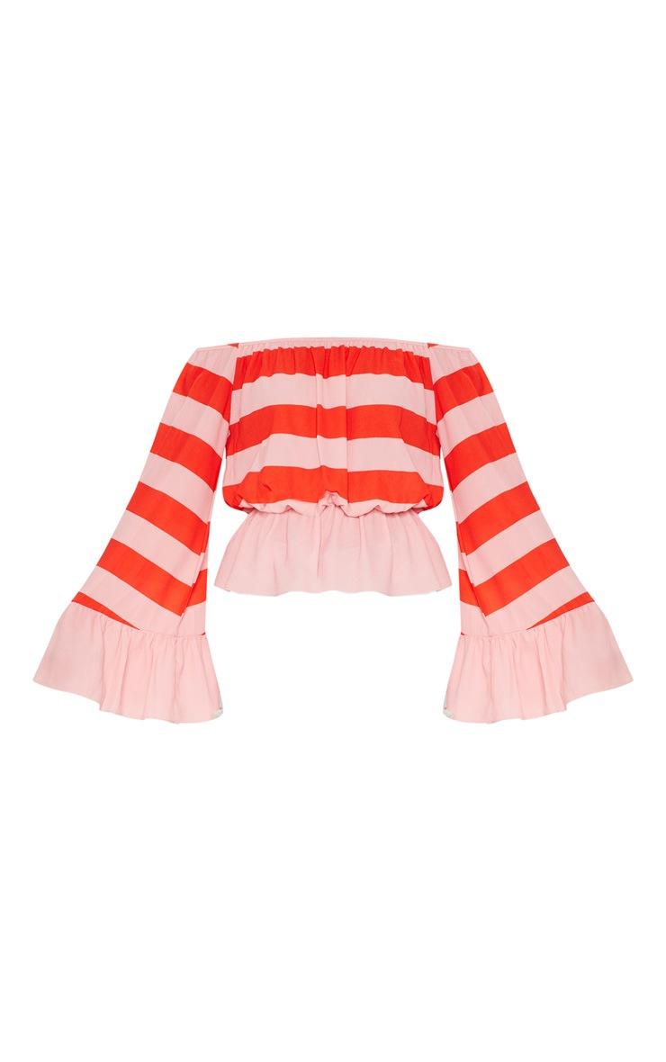 Pink Stripe Flare Bardot Sleeve Top 3