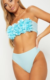 PrettyLittleThing - Baby Blue 3D Floral Bandeau Bikini Top - 5