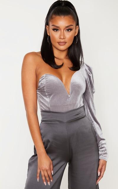 Grey Velvet One Shoulder V Wire Bodysuit