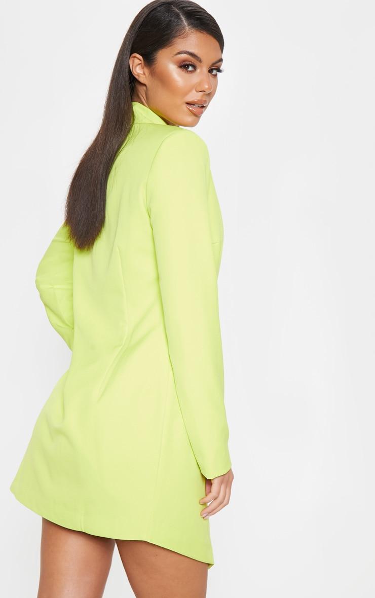 Bright Lime Gold Button Blazer Dress 2