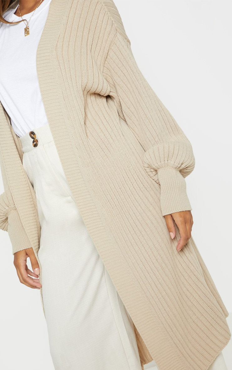 Stone Ribbed Knitted Midi Cardigan 5