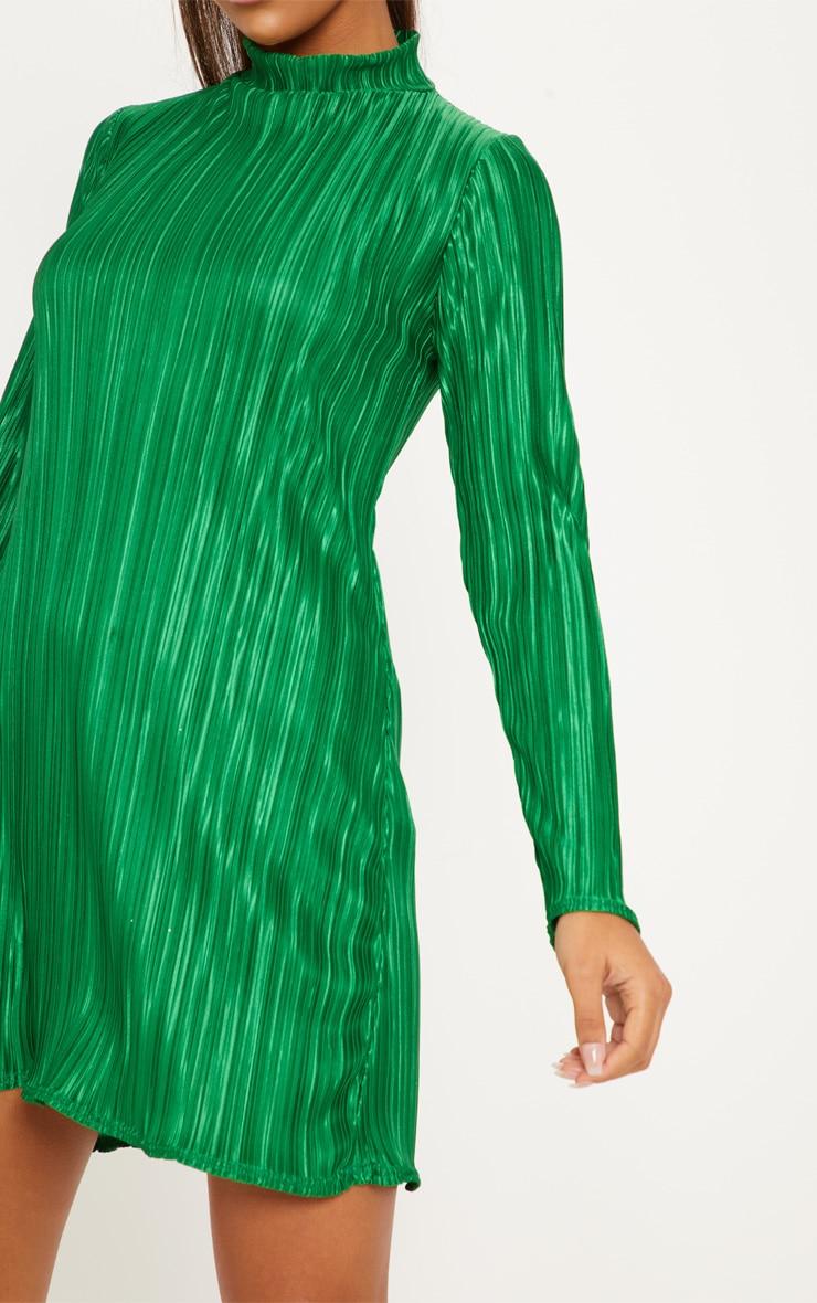 Green High Neck Plisse Swing Dress 5