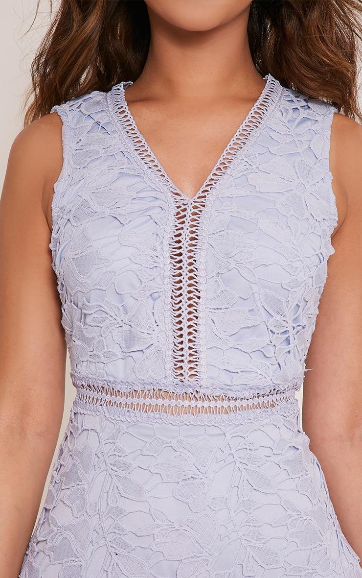 Roxy robe midi bleu pâle en dentelle crochetée 5