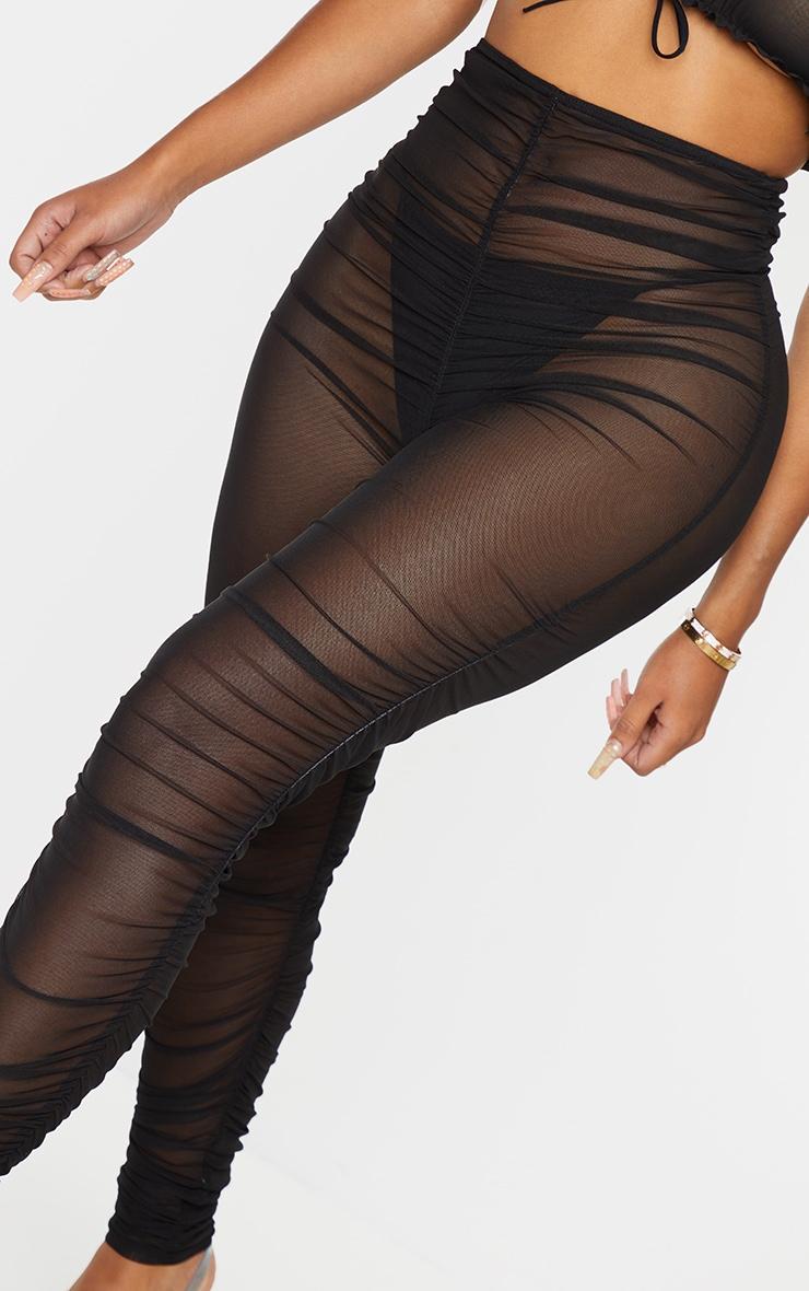 Shape Black Sheer Ruched Mesh Leggings 4