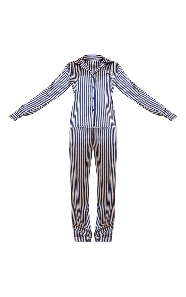 PRETTYLITTLETHING Tall Blue Striped Satin Pocket Long PJ Set 5